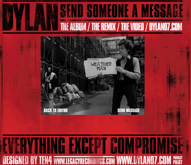 "The 'Send a Message"" promotion website for Bob Dylan's CD box set 'Everything"
