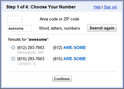 "Google Voice signup lets you ""personalize"" your number"